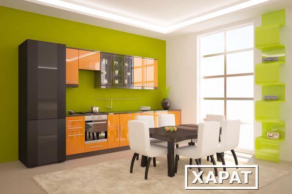 Салатово оранжевая кухня фото